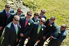For a preppy-chic affair, have your groom and groomsmen wear pink and green ties.Photo Credit: Gabrielle Orcutt Photography