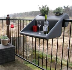 Space Saving Hanging Table Adding Comfort to Small Balcony Designs space saving table in various colors for small balcony decorating Small Balcony Design, Tiny Balcony, Balcony Garden, Balcony Ideas, Juliet Balcony, Small Balconies, Planter Table, Planters, Space Saving Table