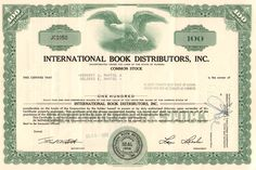Affordable collectible stock certificate from International Book Distributors Inc The company was a small publisher out of Miami, FL. Money Frame, International Books, Retro Vector, State Of Florida, General Motors, Vector Design, Vignettes, Eagles, Certificate