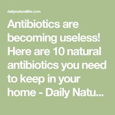 Antibiotics are becoming useless! Here are 10 natural antibiotics you need to keep in your home - Daily Natural Life