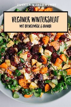 Winter Salad with Couscous, Quinoa, Roasted Veggies and Turmeric Dressing - Zucker&Jagdwurst Vegetarian Recipes, Cooking Recipes, Healthy Recipes, Vegetarian Salad, Healthy Food, How To Cook Quinoa, Fruits And Veggies, Food Inspiration, Salad Recipes