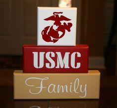 Hand Painted Marine Corps, USMC, Marines Family Military Blocks. $22.00, via Etsy.