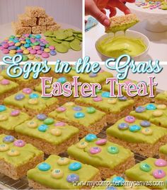 """Easy Easter Treat... """"Eggs in the Grass"""" Rice Krispie Squares"""