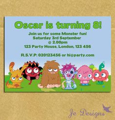 Moshi Monsters Personalised Printable Birthday Party Invitation. £4.50, via Etsy.