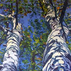 Sycamore Tree Fine Art Landscape Painting by EvelynMcCPetersArt.