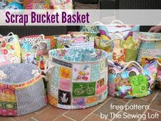 Download this scrap bucket pattern today and store your scraps in style.  The Sewing Loft
