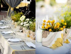 LOVE: taupe-grey and yellow, fabric-wrapped planter boxes, table linens with contrast piping