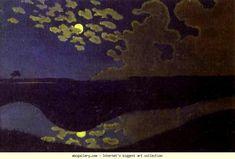 Félix Vallotton, Clair de Lune, 1895,  Oil on canvas. 27 x 41 cm. Musée d'Orsay, Paris, France.