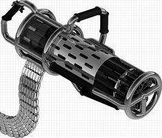 Gatling Shotgun - 12 guage, linkless belt-fed, rotary barrel shotgun. Not something your average person is going to pick up and wander around with, but definitely something to add to powered combat armor.