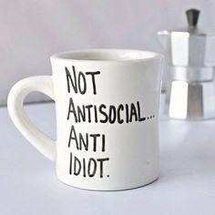 Funny Mug coffee tea cup diner mug black white by KnotworkShop
