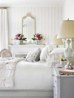 This bedroom is very girly, they have resisted colours on the bed itself as it already has a busy cover.. but made the room appealing by using the flowers by the mirror. The picture is of course a bedroom but the eye is drawn around the room to the flowers. #bywstudent