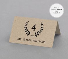 Rustic Place Card Printable INSTANT DOWNLOAD by MintyPaperieShop