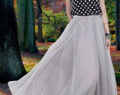 Grey Chiffon Skirt Maxi Skirt Long Skirt Maxi Dress Grey Silk Chiffon Dress Summer Dress Beach Skirt  Pleat Skirt Bohemian Skirt