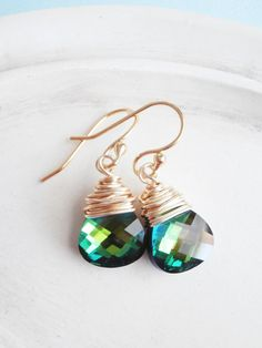 Swarovski Crystal Earrings  Teardrop Wire Wrapped by linkeldesigns, $30.00