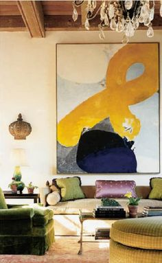 Best practice: Hang an artwork piece that is almost the width of the sofa but not wider. | apartmenttherapy.com