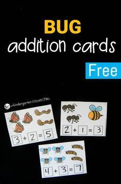 Bug Addition Cards - The Kindergarten Connection Work on beginning addition with these fun and free bug addition cards! Perfect for kindergarten and first grade math activities. Preschool Math, Math Classroom, Kindergarten Activities, Teaching Math, Kindergarten Freebies, Teaching Numbers, Preschool Worksheets, Therapy Activities, Teaching Reading