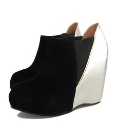 Wedge Ankle Boots with Color Block Design