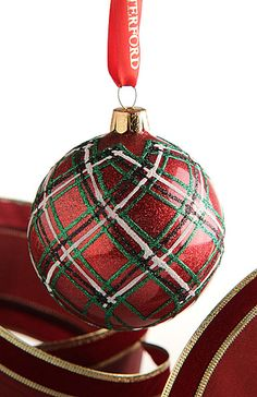 waterford Plaid Glitter Ornament