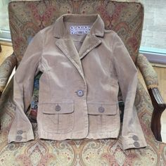 Tan corduroy blazer Very good condition preowned tan corduroy blazer. 2 Front pockets,  back slit, One button front closure. No holes rips or stains noted. From a smoke free and pet free home. No hold, no trades. Maurices Jackets & Coats Blazers
