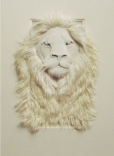 3D paper sculpture - awesome! #lion