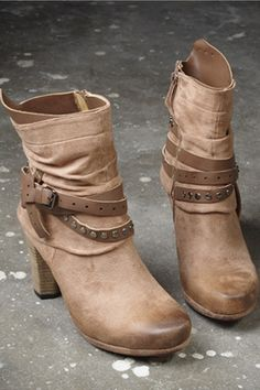 Riveted Strap Trimmed High Heel Boots
