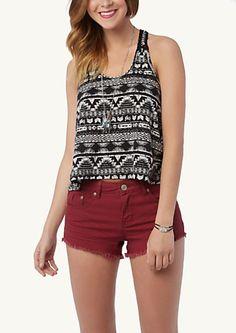 Black & White Tribal Crochet Chain Tank- 16.99 (SO CUTE with burgandy shorts/jeans)