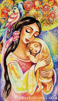 Mother and Child Painting, Mother and Baby Painting, Nursery Folk Art, Tree of Life, Wall Art - Art Print Mother And Baby Paintings, Mother And Child Painting, Painting For Kids, Painting Art, Graffiti Kunst, Madona, Mother Art, Art Populaire, Tree Wall Art