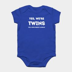 Yes We're Twins, Yes We're Perfect Angels - Twins - Onesie | TeePublic Funny Babies, Funny Kids, Cute Babies, Cute Onesies, Sauce Barbecue, Christmas Onesie, Thanksgiving, Costume, Sarcastic Quotes