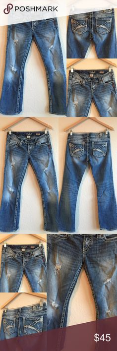 """Silver Jeans 🎀 Tuesday Boot Cut, Sz 27 x 27.5 Beautiful jeans in great condition! Hemmed to 27.5"""" inseam!  Adorable and edgy!  Original price is an estimation. 💗💗💗 Silver Jeans Jeans Boot Cut"""