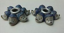 Hedgehog candle holder pottery x 2