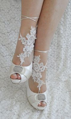 Bare foot sandals crochet partnered with peep toe pumps