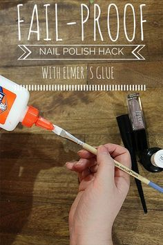 Apply Elmer's Glue with a Thin Paint Brush, Which Peels off to Reveal a Perfect Manicure