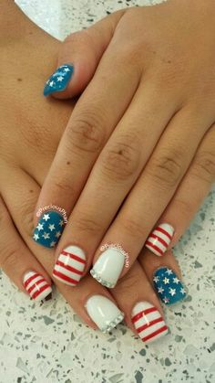 Rhinestones,  4th of July nails