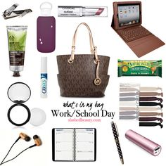 What's In My Bag: Work & School Days If you're like me, back to school means long daysssss. When I have school, I leave the house at in the morning and I'm not home until about at night. That means I have to pack my purse strategically so I have Work Purse, What's In My Purse, Work Bags, What In My Bag, What's In Your Bag, Work Bag Essentials, My Bags, Purses And Bags, Uni Bag