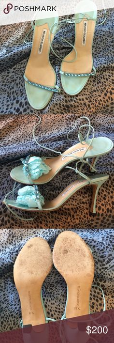 AUTHENTIC MANOLO BLAHNIK JEWELED HEELS  AUTHENTIC Manolo Blahnik heeled sandals that are very early 2000's. These are a re-posh because they don't fit me. They are in good condition, they have staining on the toe part and creasing throughout. There is some staining and fraying on the straps. Markings throughout on the backs of the heels. And the soles are worn as pictured. Still in great condition, I will add more pictures per request. These are for very narrow feet and will best fit a US 7…
