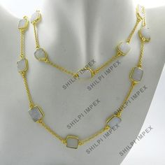 Shining White Druzy gemstone 925 silver gold vermeil long chain necklace jewelry