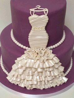Double layer wedding dress cake