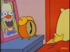 Bart está dormido en su habitación, suena el despe... —  Bart: Oh, no! Estoy ciego! No veo! No veo!  —Homero: AJAJAJA!! Inocente palomita!