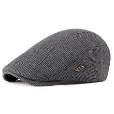 fc92622f7da Men Visor Knit Newsboy Beret Caps Outdoor Winter Cabbie Flat Hat Driving Hat