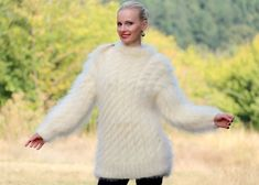 True Grit Pullover, Fuzzy Pullover, Long Sweaters, Cable Knit Sweaters, Chunky Knitwear, Knitted Animals, Mohair Sweater, Hand Knitting, Ivory White