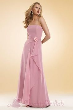 Pink Strapless Full length Pleated Chiffon  B1150 BridesMaids