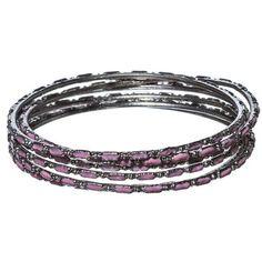 Charmadillo-6PC-Pink-Enamel-Silver-Tone-Bangle-Fashion-Bracelet-Jewelry-Gift-Set