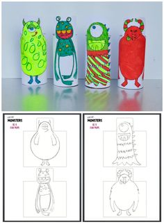 Cute Monster Printable - wrap around cardboard rolls - easy and quick craft for kids