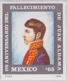 175 aniversario del fallecimiento de Juan Aldama Juan Aldama, al óleo de José Barón 1986 México