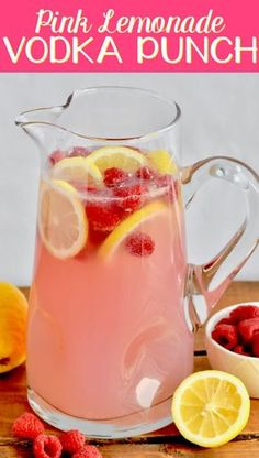 This Pink Lemonade Vodka Punch recipe is only three ingredients! It is so easy … This Pink Lemonade Vodka Punch recipe is only three ingredients! It is so easy and perfect for a party! This Pink Lemonade Vodka Punch recipe is only three ing Pink Lemonade Punch, Raspberry Lemonade, Lemonade Cocktail, Spiked Lemonade, Watermelon Lemonade, Party Drinks Alcohol, Alcohol Drink Recipes, Vodka Mixed Drinks, Pink Alcoholic Drinks