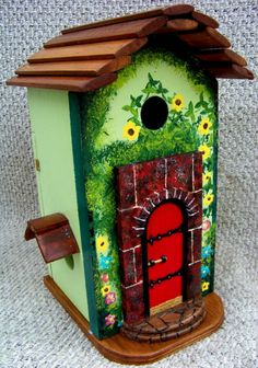 Fairy Garden Bird House Double bird house Made with love to last For details… Ladybug House, Unique Birdhouses, Bird Houses Painted, Gnome House, Birdcages, Miniature Figurines, Backyard Birds, Garden Crafts, Fairy Houses