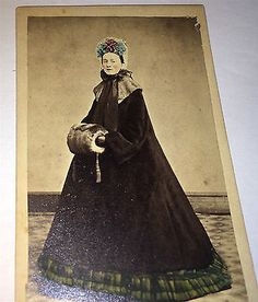 Antique-Civil-War-Winter-Fashion-Woman-Hand-Tinted-Colored-New-York-CDV-Photo