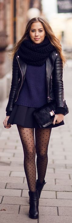 Took a hint from this outfit today to wear my Anthropologie black sweater skirt and navy blue sweater with a gold bow and red accents with a black blazer, black tights and black platform heels.