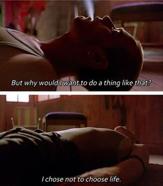 Find images and videos about ewan mcgregor, trainspotting and renton on We Heart It - the app to get lost in what you love. Trainspotting Quotes, Trainspotting Choose Life, Renton Trainspotting, Ewan Mcgregor, Rachel Green, Tv Show Quotes, Film Quotes, La Haine Film, Cinema Quotes