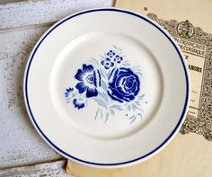 French Antique Ironstone Blue Stencilware by shabbyfrenchvintage